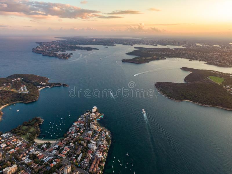 Aerial drone evening view of the Sydney suburb of Manly, a beach-side suburb of northern Sydney. Aerial drone evening view of the Sydney suburb of Manly, a royalty free stock photo