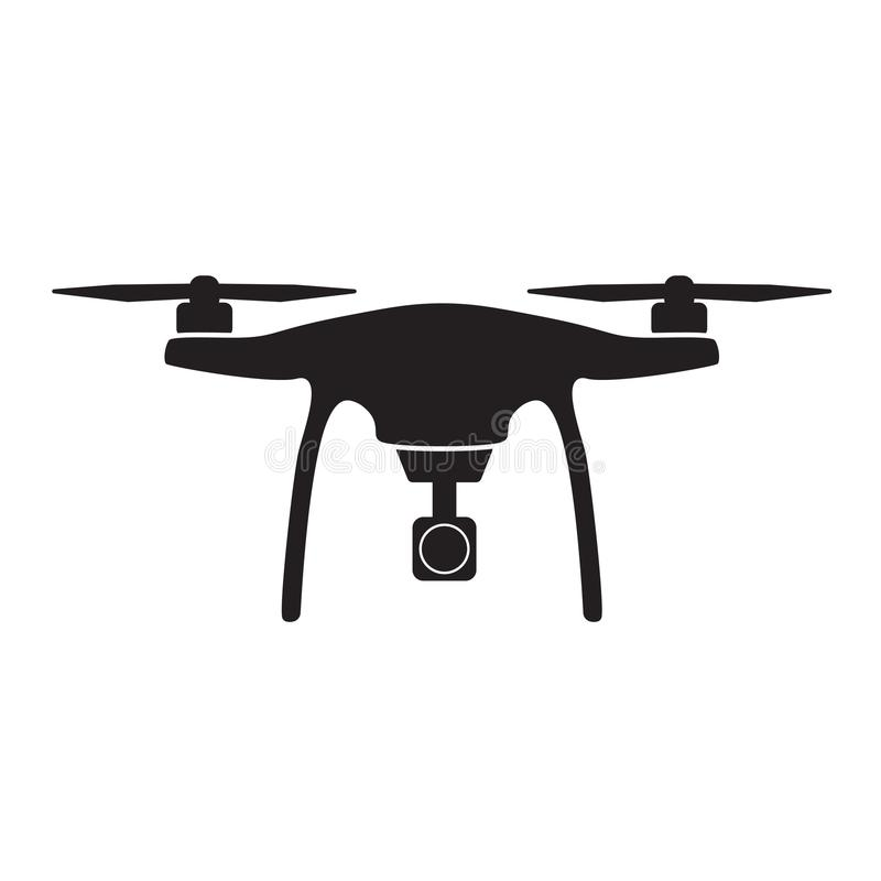 Aerial drone with camera icon. Aerial drone icon- illustration stock illustration