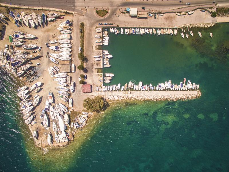 Aerial drone image of a bay and boats at North Corfu Greece. Amazing Greece stock images