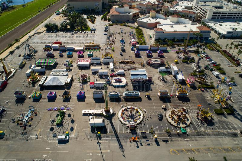 Aerial drone image Broward County Fair stock image