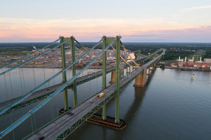 Aerial drone image of the Delaware Memorial Bridge. Aerial drone image of the Delaware Memorial royalty free stock photography