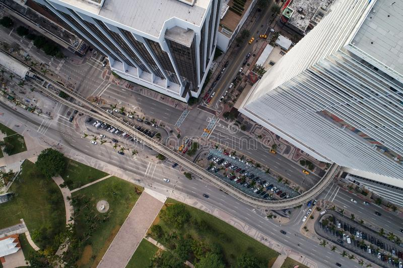 Aerial drone image Downtown Miami Biscayne Boulevard Florida USA royalty free stock images