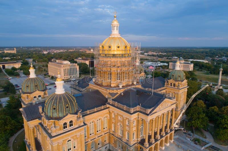 Iowa State Capitol Des Moines Iowa. Aerial drone image of Iowa State Capitol Des Moines Iowa royalty free stock photos