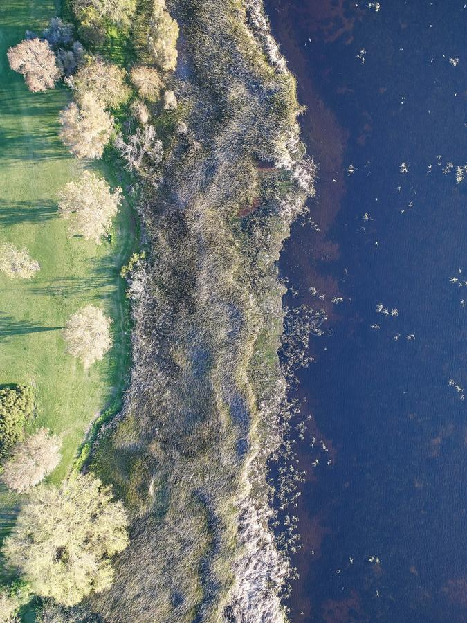 Aerial Lake Image. A aerial drone image of a lake royalty free stock image