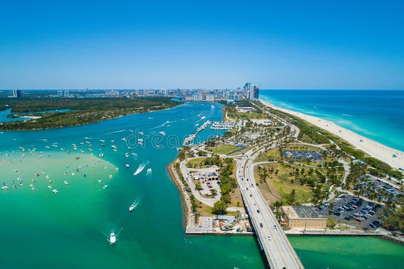 Beautiful day in Hauloer Park Miami Beach. Aerial drone image of Miami Beach Haulover Park scenic landscape