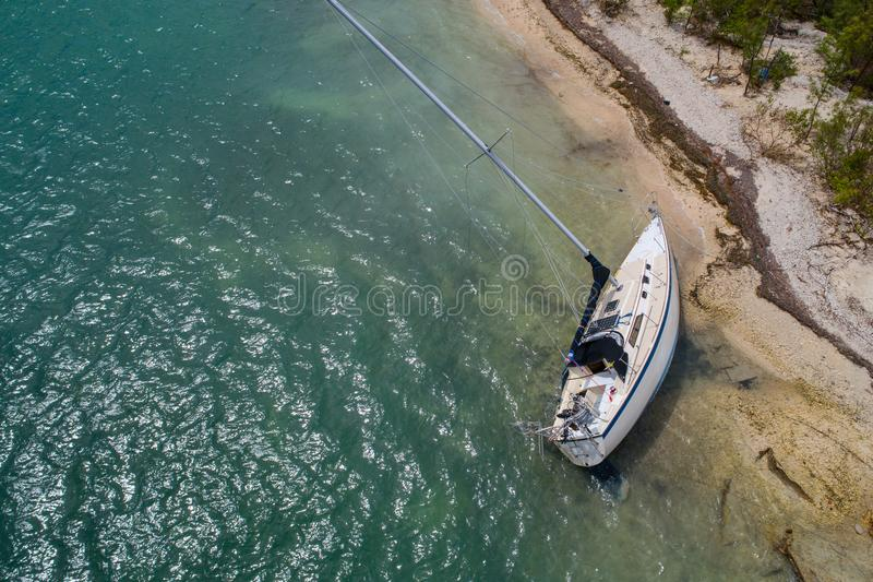 Aerial drone inspection of a sunken sail boat Hurricane Irma stock image