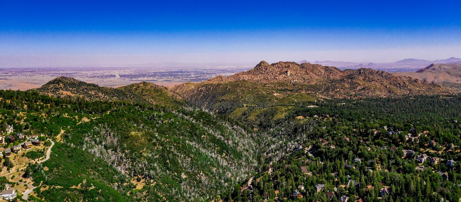 Aerial, Drone Landscape Over Lake Arrowhead, California stock photos