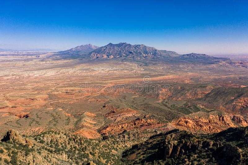 Aerial drone panorama - Beautiful Henry Mountains in the Utah desert. royalty free stock photo