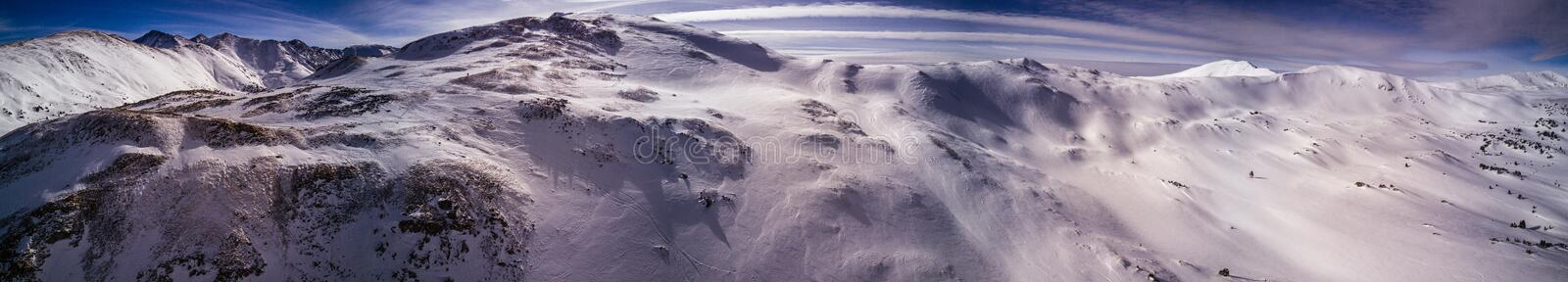Aerial Drone Panorama Photo - Colorado Rocky Mountains after a fresh winter storm. Beautiful Drone photograph of the Colorado Rocky Mountains after a fresh dump stock photo