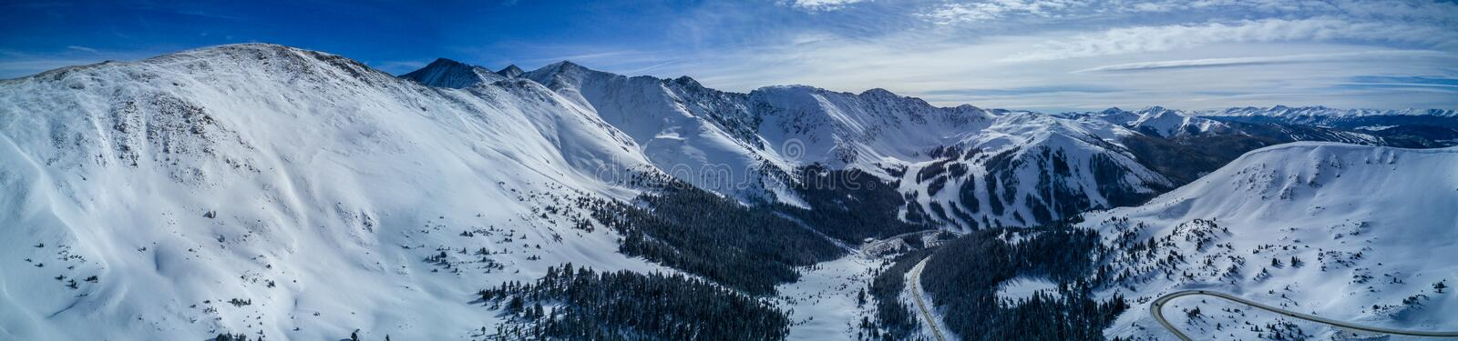 Aerial Drone Panorama Photo - Colorado Rocky Mountains after a fresh winter storm. Beautiful Drone photograph of the Colorado Rocky Mountains after a fresh dump stock image