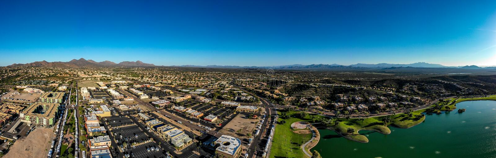 Aerial, Drone, Panoramic View of Fountain Hills, Arizona royalty free stock photography