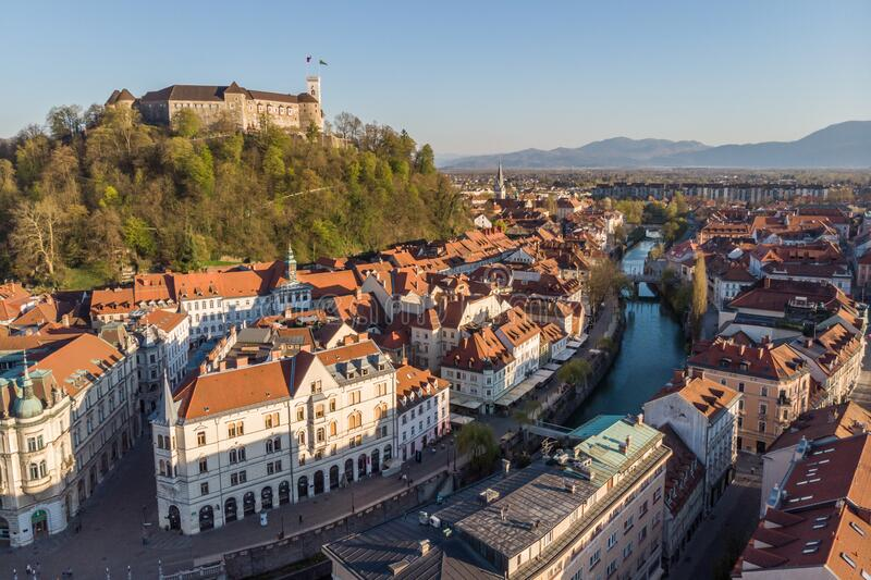 Aerial drone panoramic view of Ljubljana, capital of Slovenia in warm afternoon sun royalty free stock images