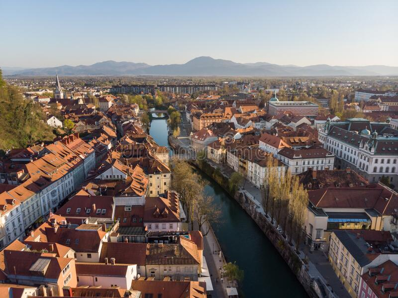 Aerial drone panoramic view of Ljubljana, capital of Slovenia in warm afternoon sun royalty free stock image