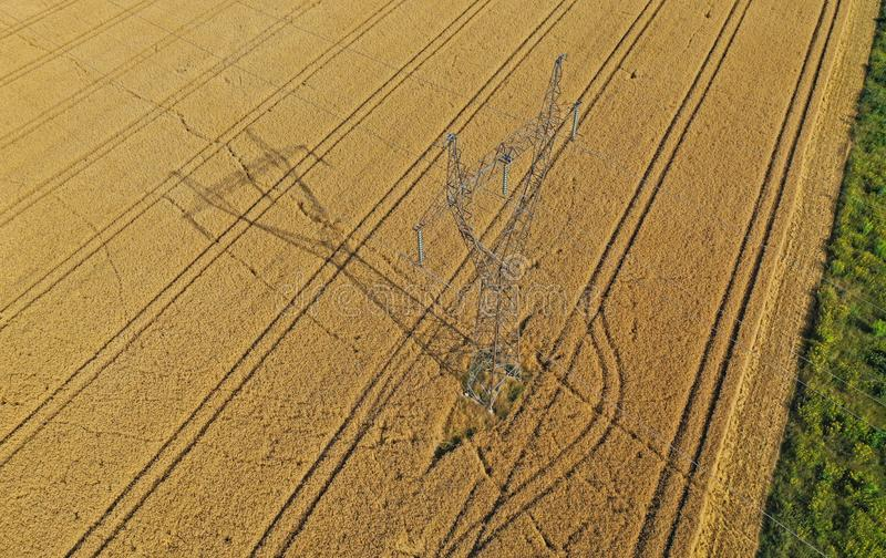 Aerial drone perspective view on steel high voltage tower in the middle of wheat field stock images