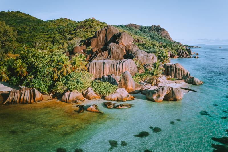 Aerial drone photo of amazing tropical Anse Source D argent beach at Seychelles. Exotic paradise travel vacation concept royalty free stock images