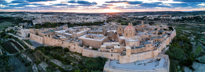 Drone photo - City of Mdina, Malta at sunset stock photos
