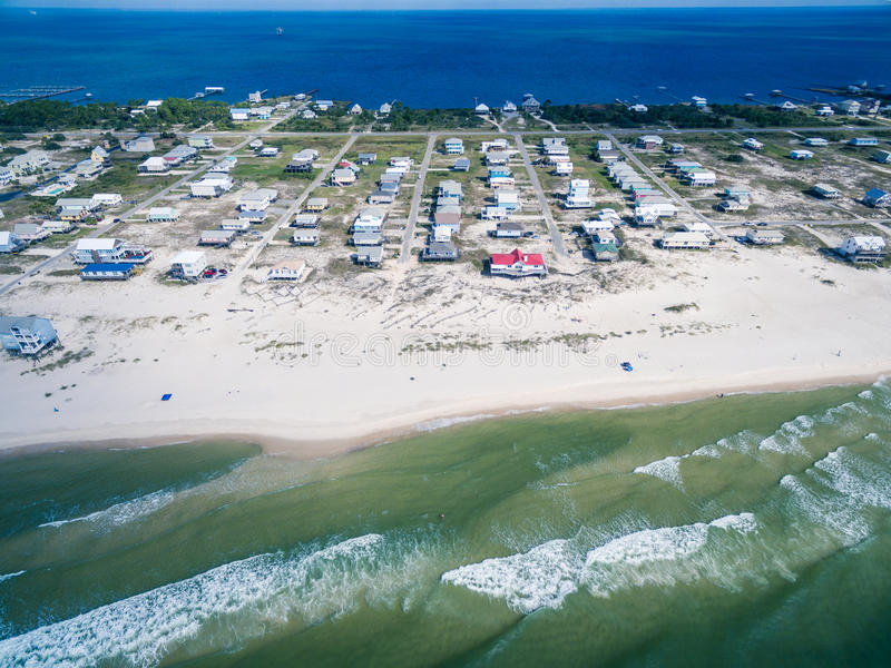 Aerial Drone Photo - Beaches of Gulf Shores / Fort Morgan Alabama royalty free stock image
