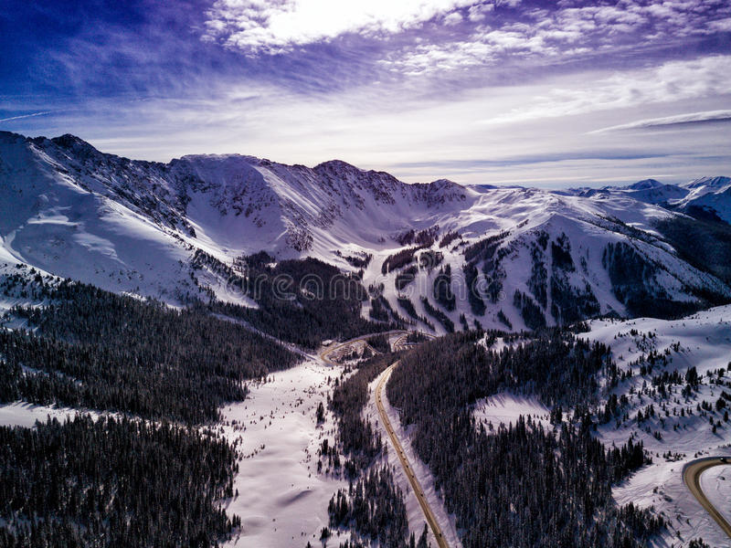 Aerial Drone Photo - Colorado Rocky Mountains after a fresh winter storm. Beautiful Drone photograph of the Colorado Rocky Mountains after a fresh dump of winter stock photos