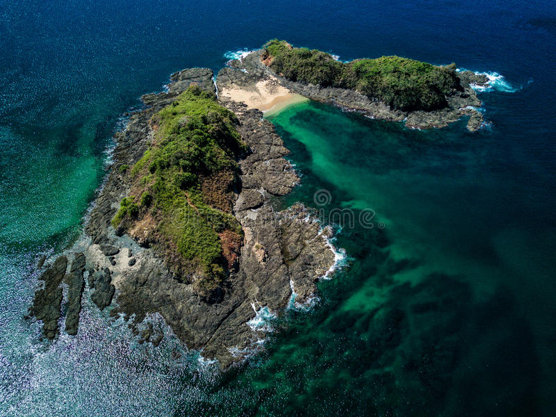 Aerial Drone Photo - Deserted island in the Pacific Ocean off the coast of Costa Rica royalty free stock images