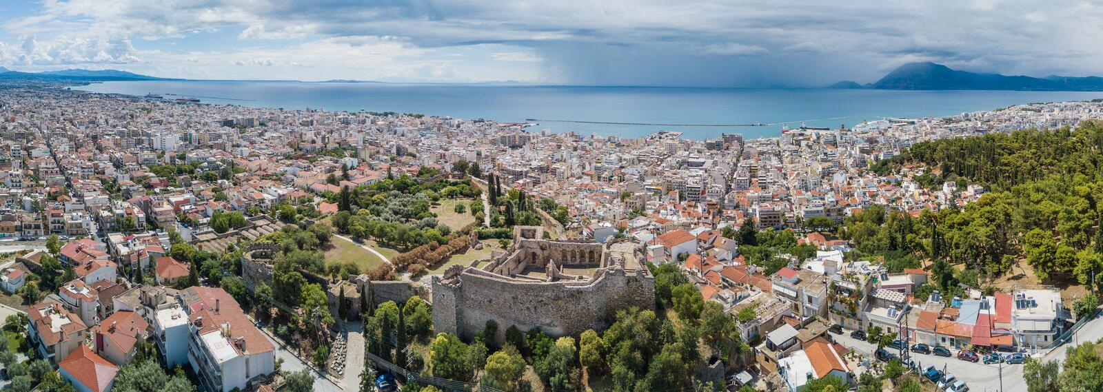 Aerial drone photo of famous town and castle of Patras, Peloponnese, Greece. Panorama stock images