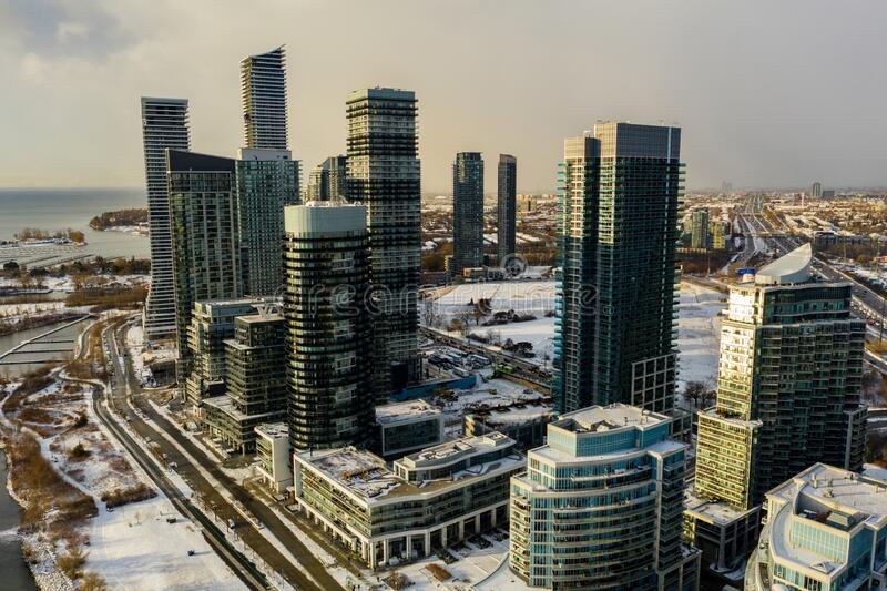 Aerial drone photo Humber Bay Toronto Canada modern highrise architecture. USA stock photo