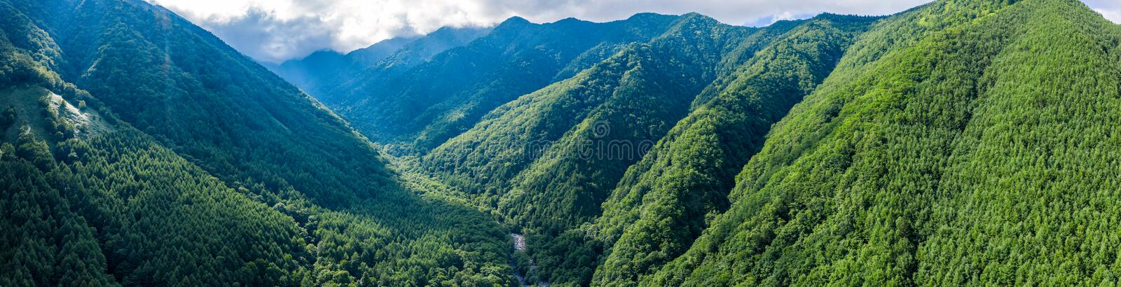 Aerial drone photo - Mountains of Nagano Prefecture.  Japan, Asia. The beautiful mountains of Nagano, Japan stock photos