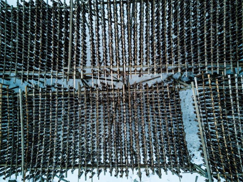 Drone photo - Racks of drying cod fish in Reine, Norway. Lofoten Islands stock images