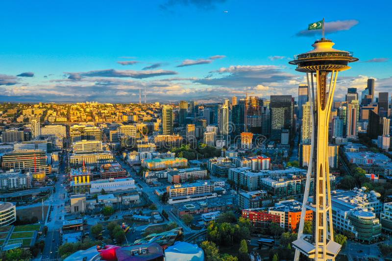 Aerial drone photo of the Seattle Space Needle at sunset. USA royalty free stock photography