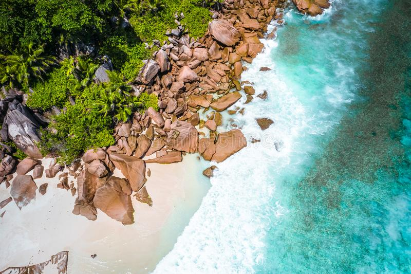 Aerial drone photo of Seychelles tropical beach Anse Marron at La Digue island stock images