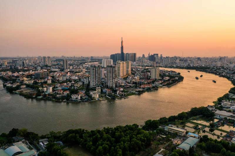 Aerial drone photo - Skyline of Saigon Ho Chi Minh City at sunset. Vietnam. Asia stock photography