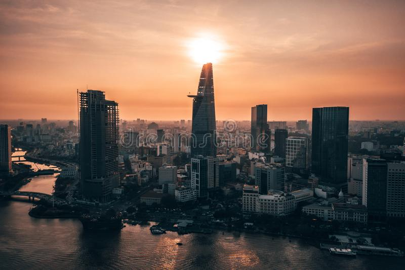 Aerial drone photo - Skyline of Saigon Ho Chi Minh City at sunset. Vietnam royalty free stock photo