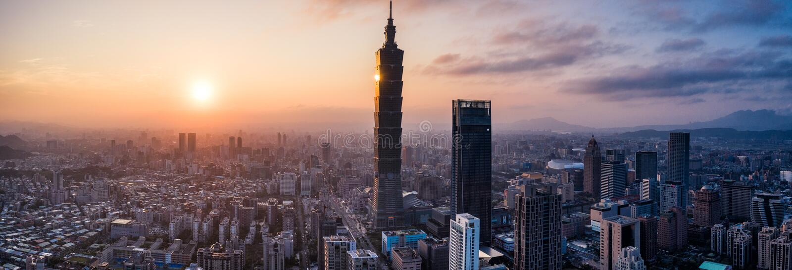 Aerial drone photo - Sunset over Taipei skyline. Taiwan. Taipei 101 skyscraper featured. stock images