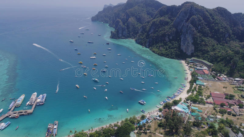 Aerial drone photo of Tonsai pier and iconic tropical beach and resorts of Phi Phi island royalty free stock photos