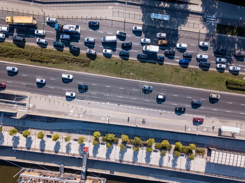 Aerial drone photograph of traffic jam in metropolis city royalty free stock image
