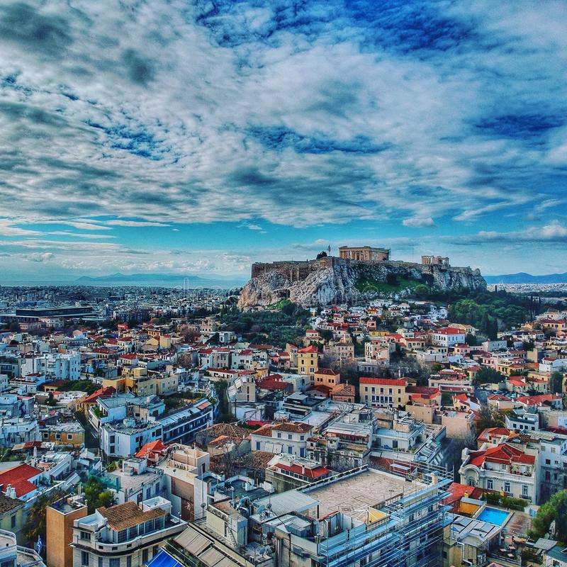 Download Greece Athens Aerial Picture Drone In The City Stock Image