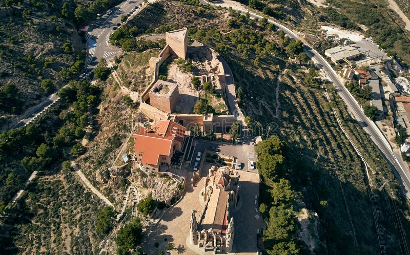 Aerial drone point of view directly from above Sanctuary of Santa Maria Magdalena monastery rooftop and surroundings countryside stock photography
