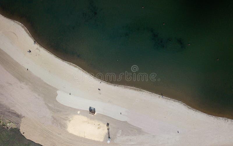 Aerial drone shot of coastline River Ural. City beach of Magnitogorsk, Russia stock image