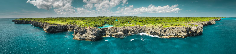 Aerial drone shot island, ocean. Panorama. Sumba. stock images