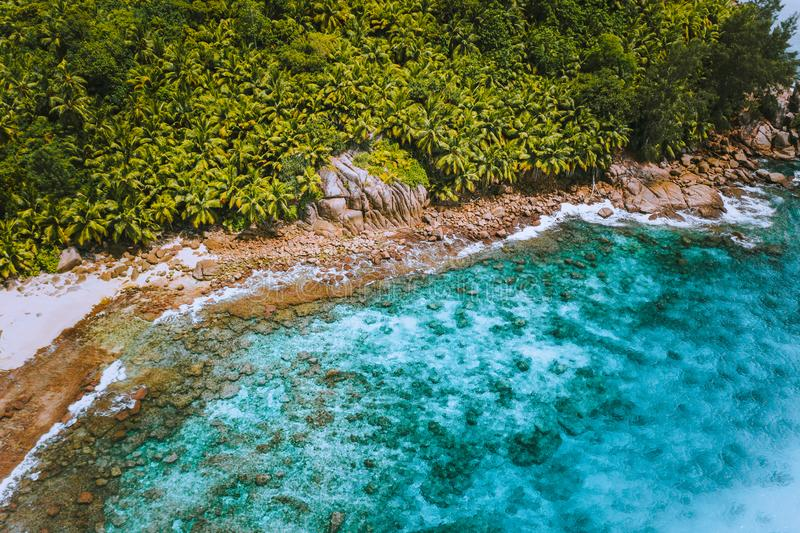 Aerial drone shot of palm grove and transparent blue water on Seychelles tropical beach, La Digue island stock images