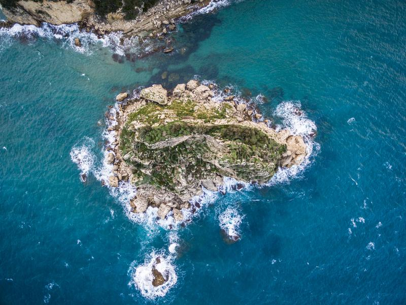 Aerial drone shot of rocks and the sea at Corfu Greece. .Amazing Greece stock photo
