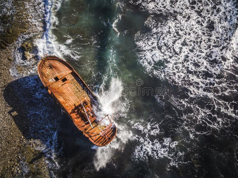 Aerial drone shot of a shipwreck in Corfu Greece. ..Amazing Greece royalty free stock images