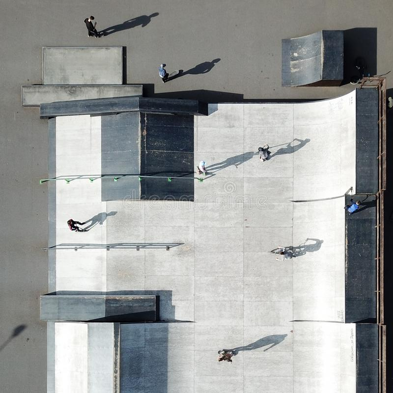 Aerial drone shot of skate park in city downtown stock photography