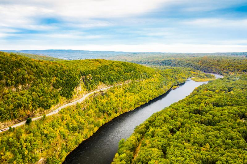 Aerial drone shot of Upper Delaware river royalty free stock photography