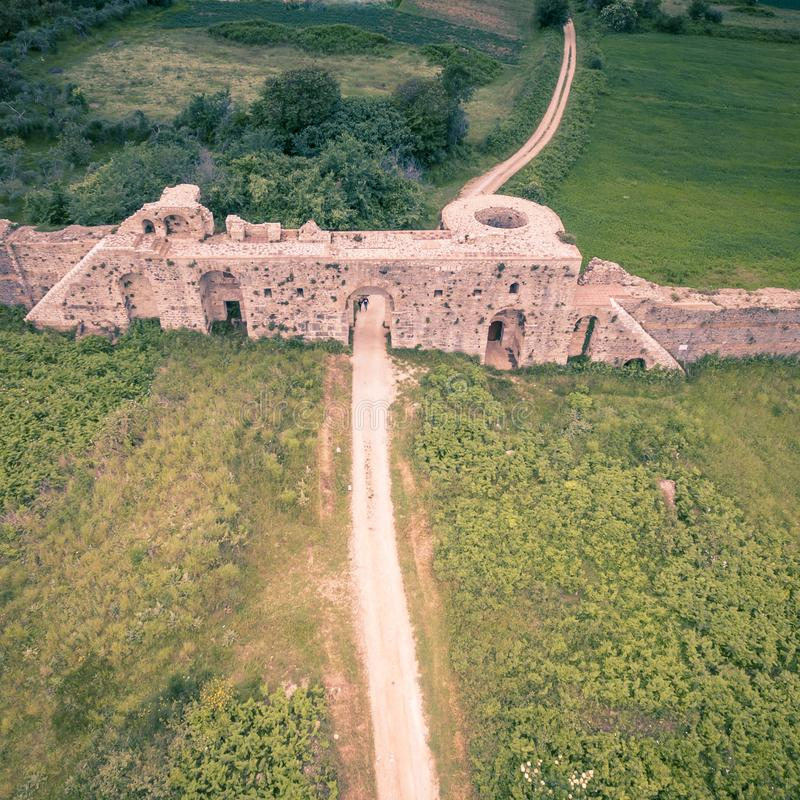 Aerial drone shot of the walls of the ancient city of Nicopolis.Greece. Aerial drone shot of the walls of the ancient city of Nicopolis.Ancient Greece royalty free stock image