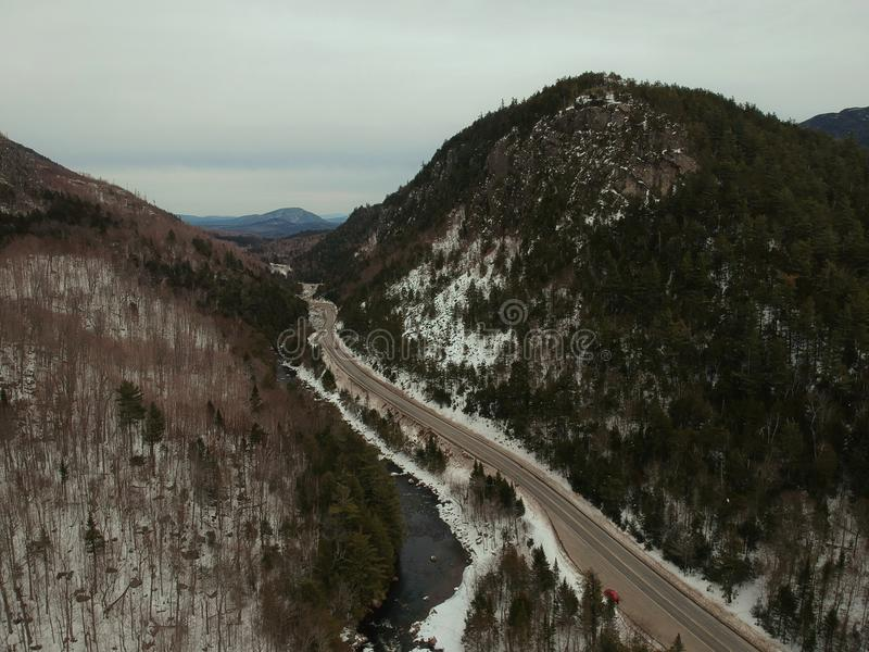 Aerial drone shot of Wilmington Notch in the Adirondacks. stock photography