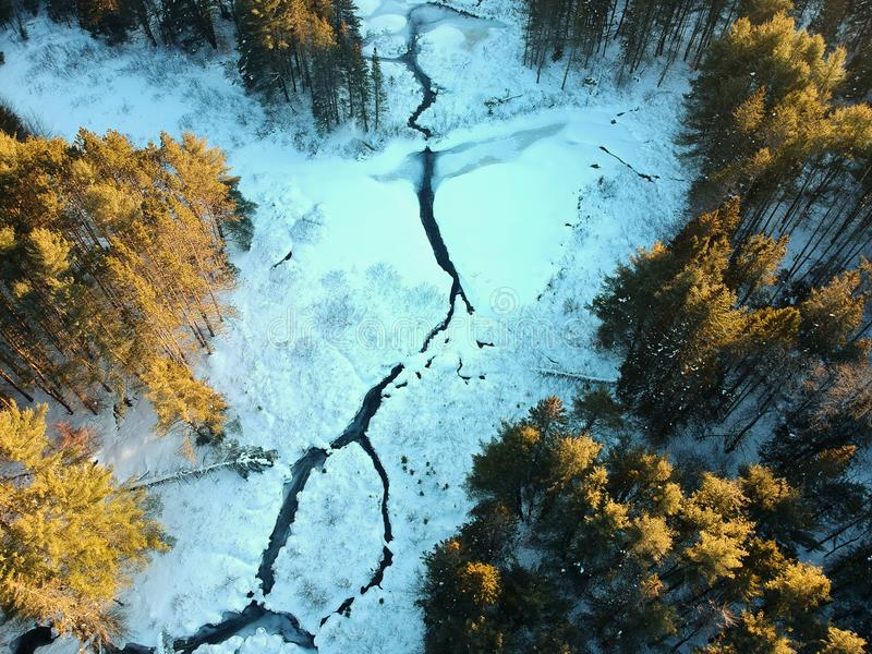 Aerial drone shot of winding river through winter forest royalty free stock photo