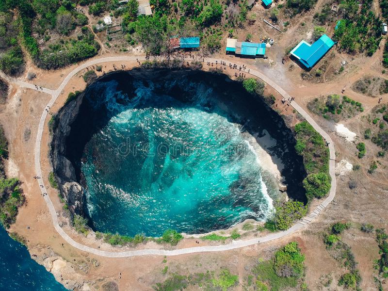 Aerial drone top view of Broken Beach in Nusa Penida, Bali, Indonesia stock photography