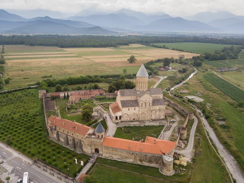 Aerial drone view Alaverdi Monastery in Kakheti, Georgia royalty free stock image