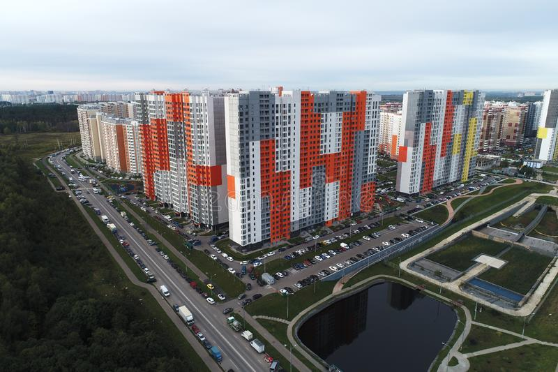 Aerial drone view of beautiful urban landscape and real estate royalty free stock photography
