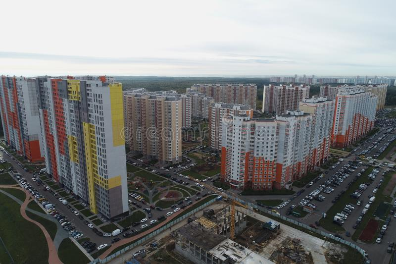 Aerial drone view of beautiful urban landscape and real estate royalty free stock photos